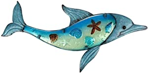 Liffy Metal Dolphin Wall Decor Outdoor Glass Art Hanging Sea Sculpture Blue Fish Decorations for Pool, Patio or Bathroom