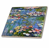 3dRose ct_155655_4 Water Lilies by Claude Monet-Impressionism-Impressionist Water Lilies on Pond-Famous Fine Art-Ceramic Tile, 12-Inch