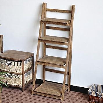 Ukhomegarden 4 Tier Wooden Ladder Shelf Plant Flower Pot Display Bookshelf Wall Storage Unit Brown