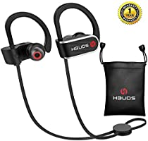 Bluetooth Headphones, Best Wireless Sport Earphones Hbuds H1 w/ Mic IPX7 Waterproof HD Stereo In Ear Earbuds for Gym Running Working out 9 Hour Battery Noise Cancelling Bluetooth Headsets (Black)