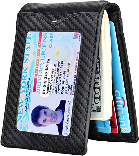 Slim Wallet with Money Clip RFID Blocking Minimalist Bifold Wallet for Men Genuine Leather Front Pocket Card - Id Front Pocket Wallet Clip