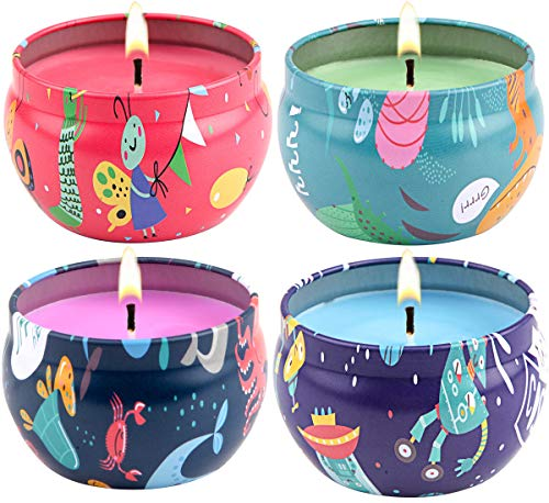 Scented Candles Jasmine,Gardenia, Rose & Lavender, Natural Soy Wax Cartoon Style Portable Travel Tin Candle,Set of 4