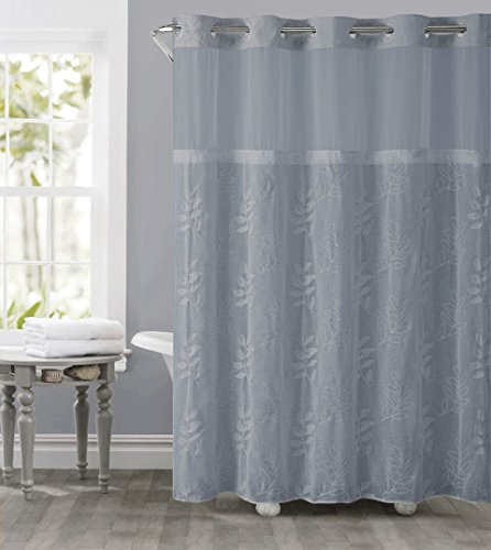 Awesome Hookless RBH32MY131 Palm Leaves Embroidery Shower Curtain With Peva   Blue