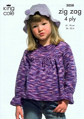 King Cole Girls Tops, Fingerless Gloves & Hat Zig Zag Knitting Pattern 3058 4 (Zig Zag Knitting Pattern)