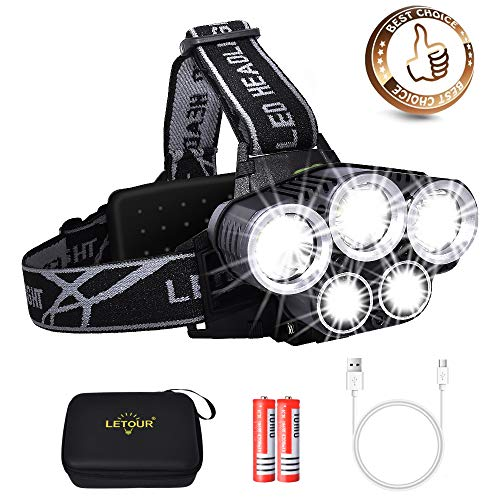 LETOUR Newest Headlamp, Led Headlamp Rechargeable Headlamp Flashlight 3100 Lumen Waterproof and Comfortable Headlamp 5 Lights 6 Modes Ultra Bright Outdoor Camping Fishing Headlamp (Best Place To See Mt St Helens)