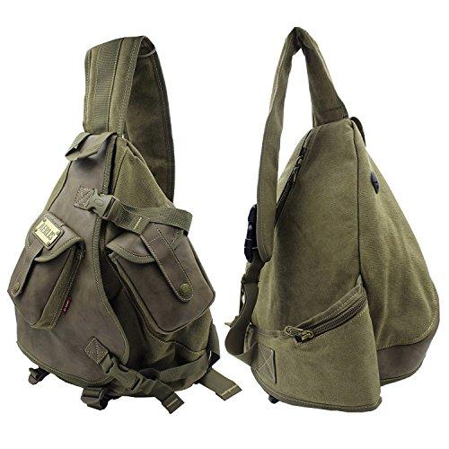 Caideno - Bolso al hombro para hombre Army Green