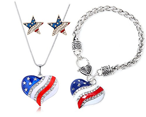 USA Flag Women Jewelry 4th of July Heart Pendant Necklace Bracelet and Pentagram Earrings Set