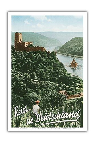 Pacifica Island Art Travels in Germany (Deutschland) - Fürstenberg Castle Ruins - Rhine River - Vintage World Travel Poster by F. Kratz c.1950s - Master Art Print - 12in x 18in (Framed River Rhine)
