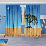 SCOCICI1588 Thermal Insulated Window Curtains Sandy Desert withTree Clear Sky Summertime Hot Weather Nature Set of Two Panels 108″W By 84″L Pair For Sale
