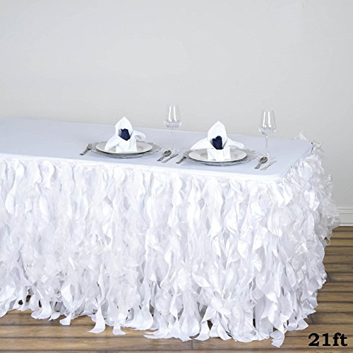 - Efavormart 21ft Enchanting Curly Willow Taffeta Table Skirt for Kitchen Dining Catering Wedding Birthday Party Events - White