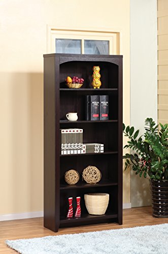 - Traditional Attwelll Home Office Bookcase Display Cabinet Collection (5 Shelves, Red Cocoa)