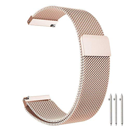 CLSY Compatible with Gear S3 Frontier/Classic/Galaxy Watch 46mm Band, 22mm Stainless Steel Metal Mesh Bracelet Strap for Men and Women (22mm,Rose Gold)
