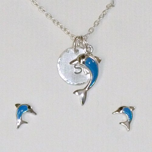 Porpoise Earring (Dolphin Sterling Silver Petite Initial Charm Necklace and Earring Jewelry Set)