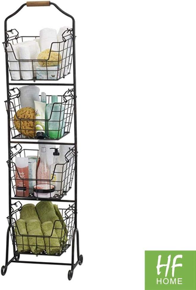 Flexibler Aufbewahrungskorb f/ür die K/üche Vorratskammer etc. HFHOME 4er-Set Allzweckkorb aus Metalldraht Fr/üchtekorb kompakter und universeller Drahtkorb mit Griffen