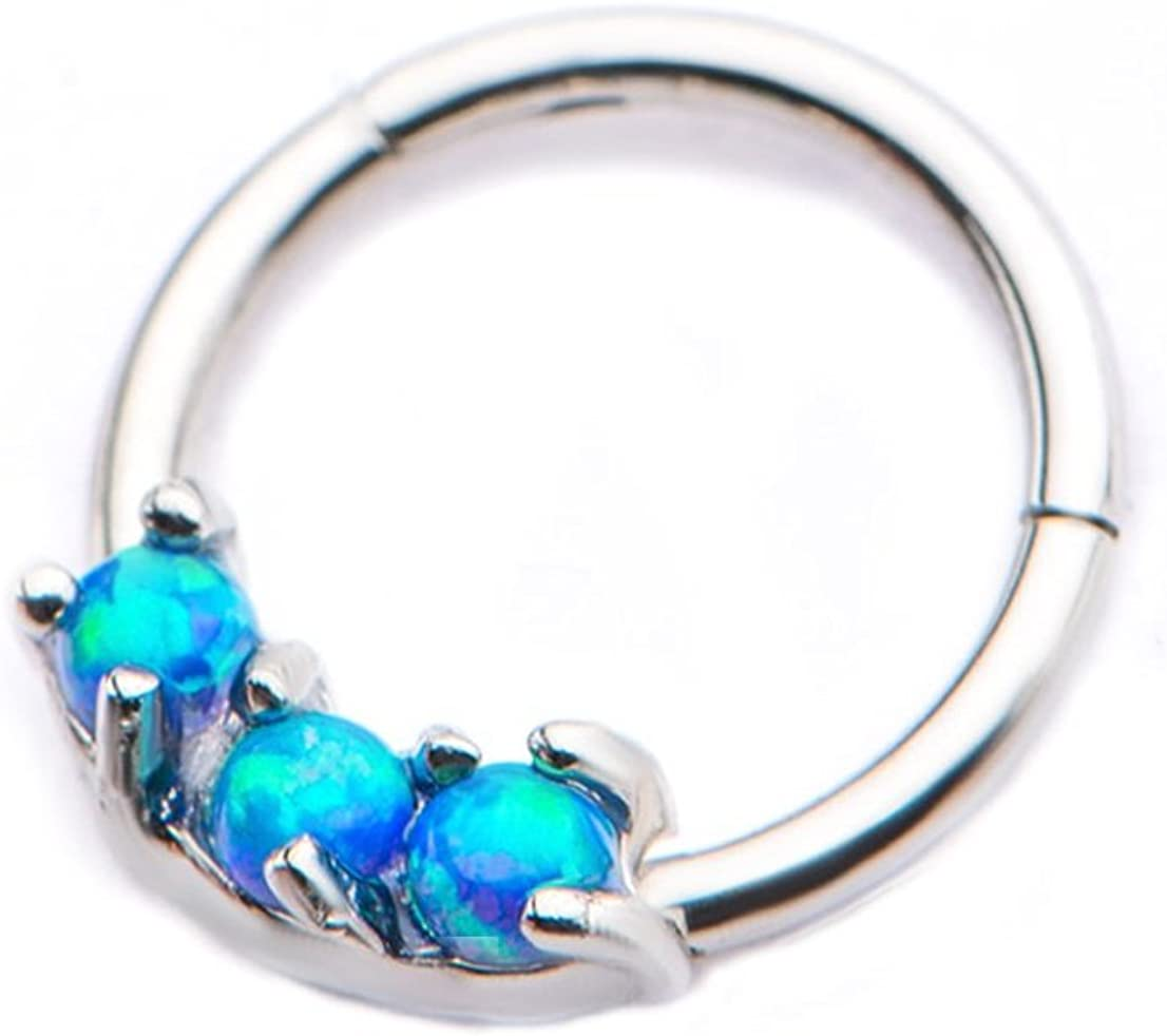 """Pierced Owl 18G 5/16"""" Stainless Steel Hinged Segment Ring with Prong Set Synthetic Opals"""