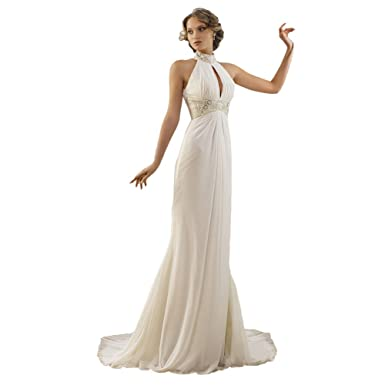 96ed274bedb LADY Women s High Neck Beaded Off Shoulder Greek Style Beading Bridal Gown  Ivory US2