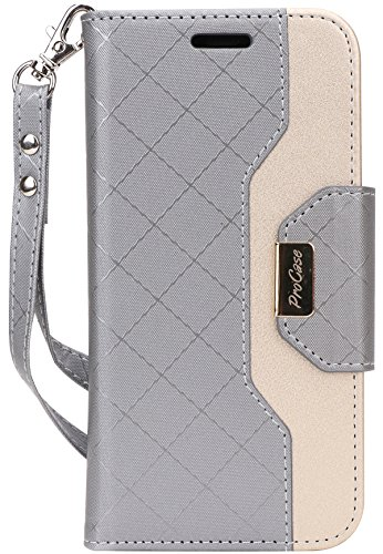 ProCase Galaxy Note 8 Wallet Case, Flip Kickstand Case with Card Slots Mirror Wristlet, Folding Stand Protective Cover for Galaxy Note 8 2017 -Grey