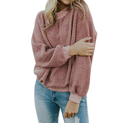 BETTERUU Women Pullover Fashion Ladies Solid Zippers Turtleneck Blouse Pullover Tops Shirt (Pink Warm,M)