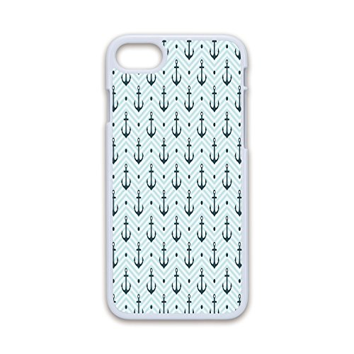 (Phone Case Compatible with iPhone7 iPhone8 White Soft Edges 2D Print,Anchor,Ocean Inspired Zigzag Backdrop with Pale Color Maritime Anchor and Dots Summertime,Seafoam Teal,Hard Plastic Phone Case)