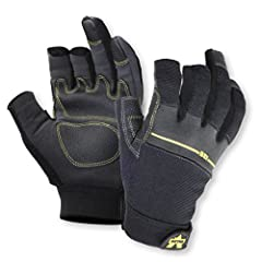 Valeo V235 Work Pro Open Finger Synthetic Leather Work Gloves for Men and Women. Optimal for General Purpose, Framing, Electrical Work, Construction, Handyman and DIY.