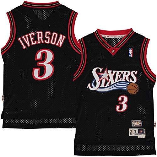 (Outerstuff Allen Iverson Philadelphia 76ers #3 Black Youth Throwback Soul Swingman Jersey (Large 14/16))