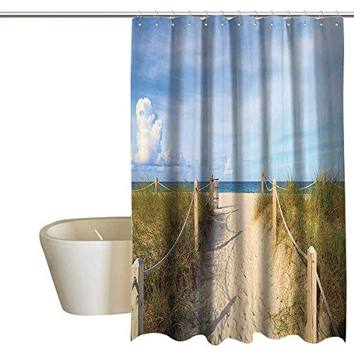 (Suchashome Seaside Decor Collection Fabric Shower Curtain Golden Sandy Beach in South Miami with Fences American Style Holiday Login Relax Image Metal Build W36 x L72 Cream Blue)