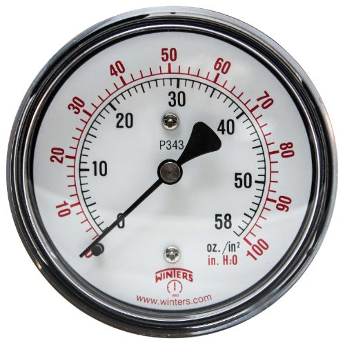 Winters PLP Series Steel Dual Scale Low Pressure Gauge with Brass Internals, 0-100