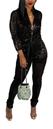 9bc2fca754e55 LKOUS Women Sexy Feather Sparkly Long Sleeve Zipper Bodycon Long Pans  Jumpsuit Clubwear Romper Plus Size