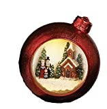 "Roman Inc. 7"" Red Christmas Bulb Ornament Swirl Glitter Dome Snow Globe with Church and Victorian Carolers"