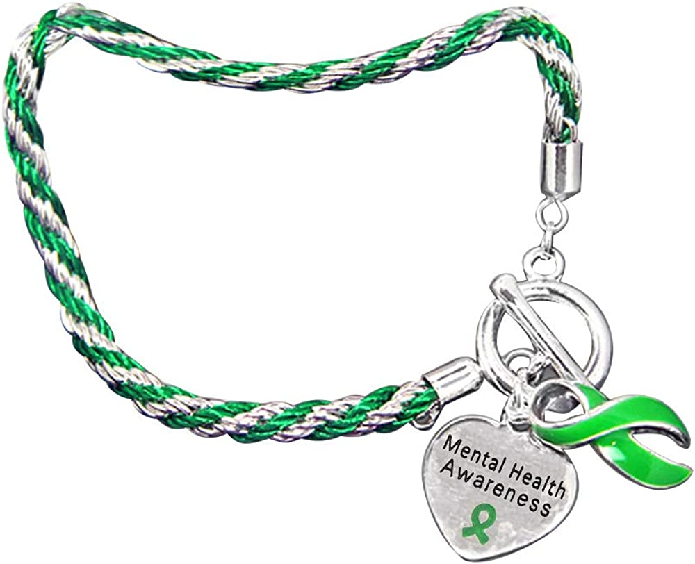 Fundraising For A Cause | Mental Health Awareness Charm Bracelet with Accent String - Green Ribbon Bracelets for Mental Health Awareness