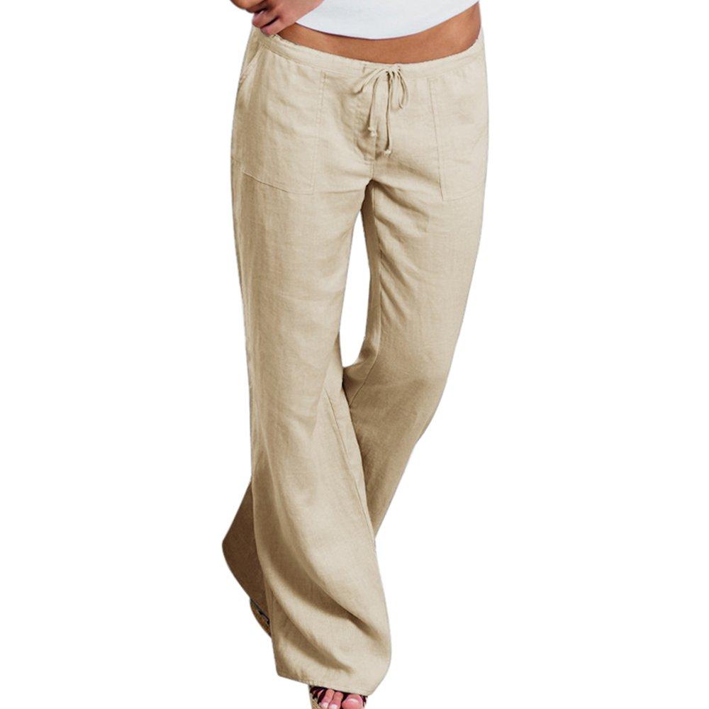 papasgjx Upgrade Women's Drawstring Wide Leg Pants Outdoor Comfy Casual Elastic Waist Pants with Pockets (Khaki, Tag L/US 14-16)