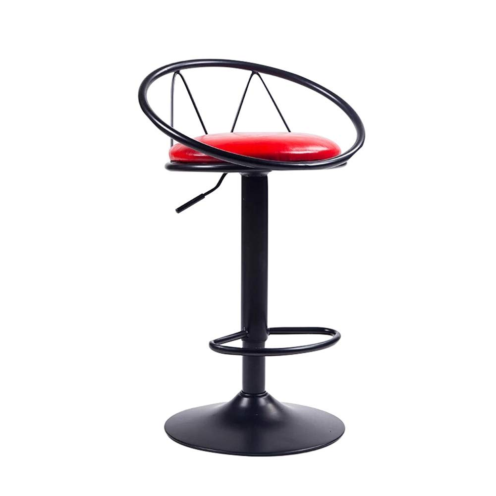 Red Bar Stool,Bar Chair Bar Stool,  bar Chair,  Counter Chair,  Kitchen Restaurant  High Stool,  Hollow Back Oil Wax Fabric Stable Chassis redate Lift 62-82cm 4 colors Counter Chair (color   Red)