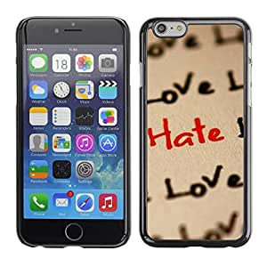 PC/Aluminum Funda Carcasa protectora para Apple Iphone 6 Love Hate Love Pattern / JUSTGO PHONE PROTECTOR