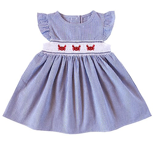 Crab Embroidered Smocked Dress, Navy, 24M (Embroidered Seersucker)
