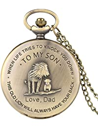 "Retro Pocket Watch,""to My Son, Love Dad"" Cartoon Lion King Pattern Quartz Full Hunter Pocket Watch with Chain Personalized Watch Gift Steampunk Clock"