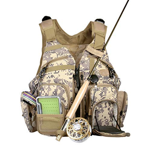 ANGLER DREAM AnglerDream Fly Fishing Pack Outdoor Sports Mesh Vest Pack/Chest Pack/Sling Pack/Back Pack Universal Adjustable Fishing Hunting Hiking Fishing Pack with Storage Compartments