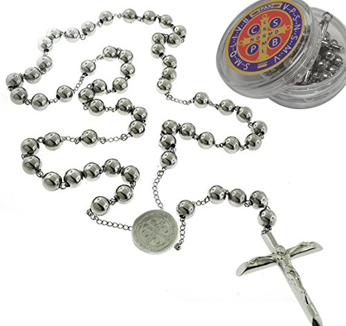 Genuine BenJunot USA Catholic Rosary Pray Necklace Stainless Steel Saint Benedict Medal-San Benito-6mm Ball-24 Inches St Benedict Rosary beads Pray Necklace