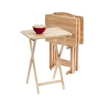 Essential Home 5 Pc Table Tray Set Sturdy Light Finish