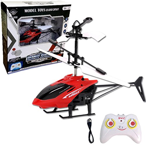 Heli Rc Radio Air (Aurorax Mini RC Helicopter with Radio Remote Control Aircraft Micro 2 Channel Best Birthday Christmas Festival Gift Mini Flashing Light Toys Flying Toys for Boys Girls and Adults (Red))