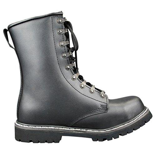 Mil-tec - Botas de paracaidista (piel), color negro negro