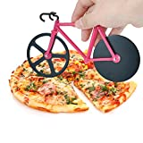 Esamconn Pizza Cutter - Bike Bicycle Pizza Cutter Wheels, Kitchen & Dinning Stainless Steel Tool Wheels Cutter (Black/Pink)
