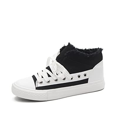 4b530176cbd83 Amazon.com | AGoGo Women's Flat High Top Lace up Casual Canvas Shoes ...