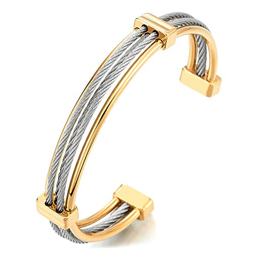 (COOLSTEELANDBEYOND Men Women Silver Gold Two Tone Stainless Steel Twisted Cable Cuff Bangle Bracelet, Adjustable)