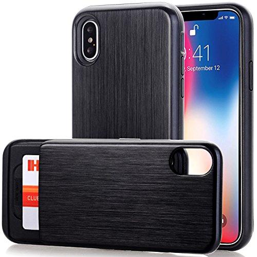 iPhone X Case, BAISRKE Slim Dual Layer Wallet Bumper Shockproof Protection Design Case with Slider Sliding Card Holder Slot for Apple iPhone X (2017) - Brushed Metal Black