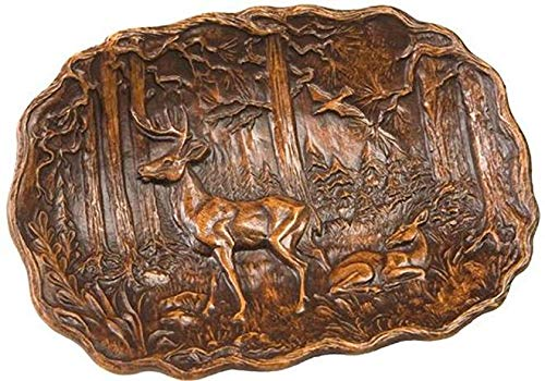 EuroLuxHome Plaque Mountain Rustic Deer in Forest Oval Resin New Hand-Cast Relief ()