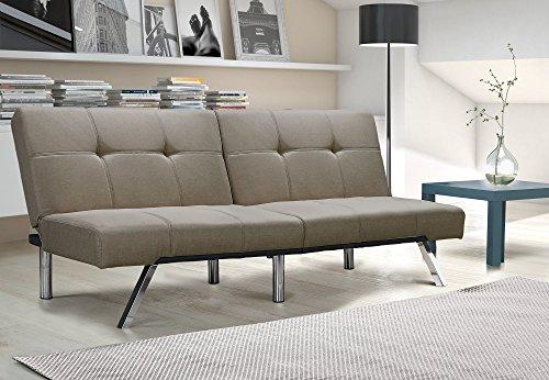 Novogratz Simon Futon Sofa Bed with Chrome Slanted Legs, Mid-Century Modern Design, Rich Tan - Tan Futon