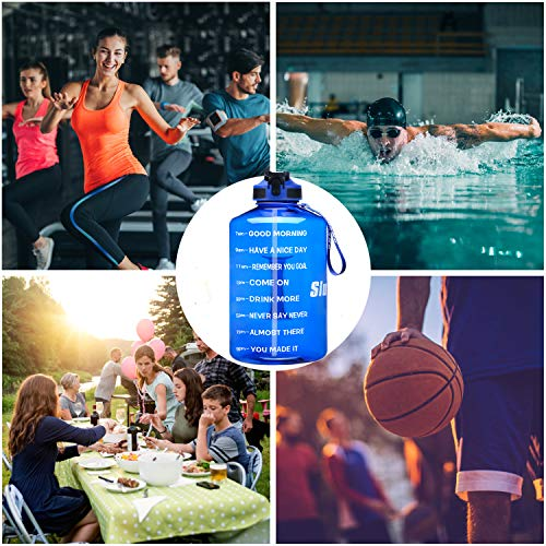 Large 128OZ Leakproof BPA Free Sports Water Jug Ensure You Drink Enough Water Daily for Fitness 1 Gallon Motivational Water Bottle Wide Mouth with Time Marker /&Silicone Straw Gym and Outdoor Sports