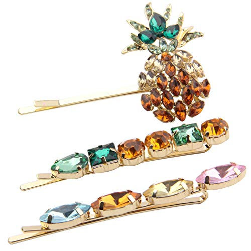 Pineapple Bobby Pins Crystal - Blond Hair Pins Decorative w/Gem Stone Studs, Gift Idea for Bride, Teacher, Family, Pet Dog, Hat, Prom, Dance, Daily Wearing - 3 Pack Hair Accessories ()