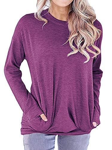 RJXDLT Women's Casual Long Sleeve Round Neck Sweatshirt Loose Soft with Pockets Pullover Blouse Tops Shirt Tunics Purple L