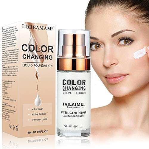 Foundation Cream,Liquid Foundation,Hides Wrinkles & Lines,BB Cream,Covering Imperfections Liquid Complete Foundation Cover, Fluid Foundation Color Changing Flawless,Universal Shade for ALL Skin Types ()
